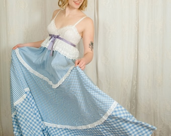 1970s Jean Varon Gingham Summer Maxi Dress - XS