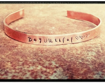 BeYOUtiful - Hand Stamped Copper Cuff Bracelet - Minimalist Bracelet/Inspirational/Gift for Her