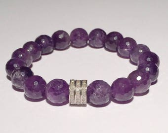 Natural purple Amthyst gemstone bracelet with 0.66 carat real pave diamond