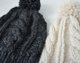 Cable knit hats / knit hats women / Chunky knit hat / knit hat
