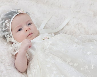 Christening Gown 'Kate' by Adore Baby.  Baptism Gown, Christening Dress, Christening Outfit