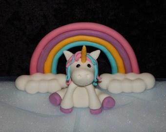 Unicorn Rainbow Clouds Fondant Cake Topper