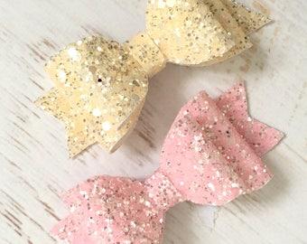 Pink hair bow, cream glitter bow, pink hair bow, cream hair bow, glitter bow