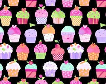 LakeHouse FabricsSweet Things Cupcakes on Black LakeHouse Novelty Fabric Food Fabric Cake Fabric Cupcake Fabric Fun Fabric Birthday Fabric