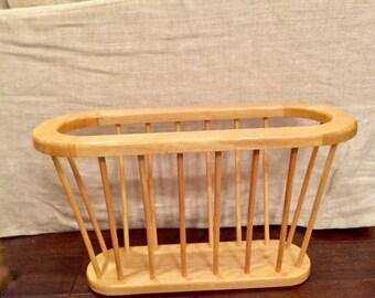 Vintage Mid Century Modern Wood Dowel Magazine Rack/MCM Home Decor/Vintage Magazine Rack/Wood Spindle Rack
