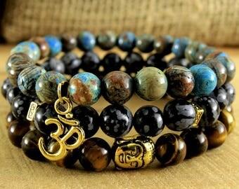Jewelry Set of Bracelets Meditation Mala Bracelet Set Om Jewelry Stacking Bracelet Buddha Tiger Eye Jewelry Snowflake Obsidian Agate Mala
