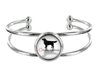 Heart Golden Retrievers Silver Plated Bangle in Organza Gift Bag