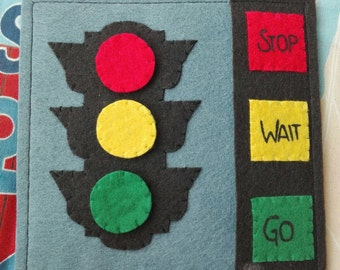 Stoplight toy educative learning quiet book felt hand made juguete semaforo original gift kid