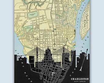 Charleston Skyline, Charleston Wall Art, Charleston Art Print, Charleston Decor, Charleston Map, South Carolina Art, Charleston Poster