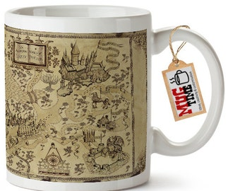 Map of Wizard World of Harry Potter Mug Cup 11oz Ceramic