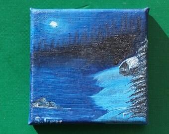 """Original mini oil painting """"Peaceful Night"""" 10 x 10 cm"""