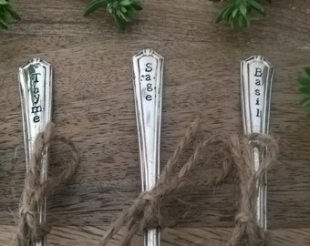Hand Stamped vintage cutlery garden marker - silver plated