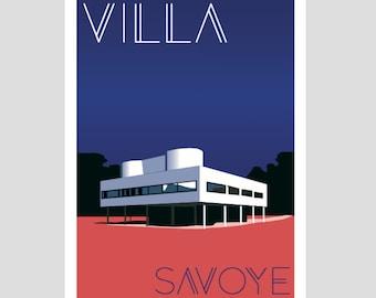 """Villa Savoye Le Corbusier"" poster 50 x 70 cm - poster, poster vintage, retro poster"