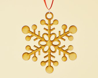 Laser Cut Wood Snowflake Ornament - Design #2 - 50% off