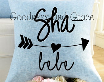 Sha Bebe Pillow - Linen Pillow Cover or Pillow with Insert - Birthday Gift, Baby Shower Gift, Kid's Room Decor, Louisiana Southern Sayings