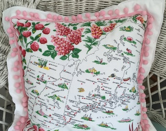 Vintage Hanky Pillow of New England States