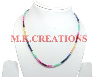 """On Sale Natural Ruby Emerald Sapphire 3-4mm Faceted 16"""" Beads Necklace - Ruby Beaded Necklace - Emerald Faceted Beads - Sapphire Beads"""