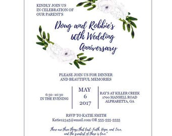 Anniversary/Party/Shower Invitation/ Instant Download/ Customization available
