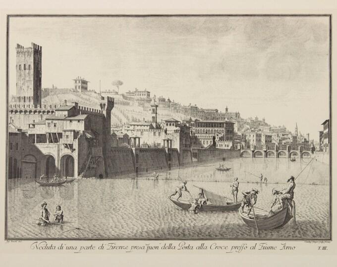 """Engraving """"Veduta dell'Arno e del Ponte alle Grazie; incisione di Giuseppe"""" by Giuseppe Zocchi, 19 century"""
