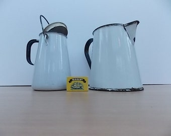 Vintage Enamel White Milk Carrying Can and White Jug