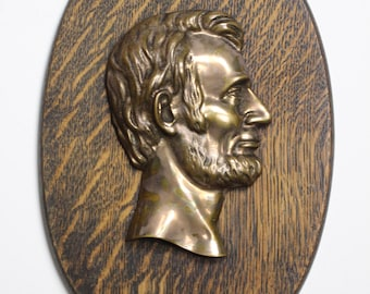 Vintage Brass Abraham Lincoln on Wood Plaque