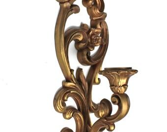 Vintage 1971 Homco Decorative Gold Candleholder