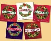 Christmas Wreaths – based on London Underground roundels – bespoke available – cards blank inside – FREE UK postage