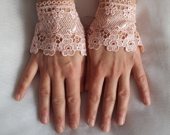 wedding, peach wrist cuffs, bridal gloves,peach,  lace,custom lace style,french lace,Free shipping.