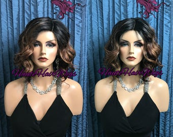 Reddish Brown With Highlights Wavy Lace Part Bob Wig - Polaire