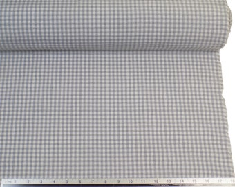 Silver White Gingham Check Cotton Blend High Quality Fabric Material *2 Sizes*