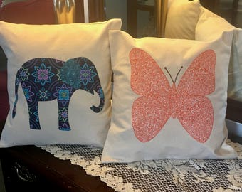 "Pillow Cover- 14"" Home Decor pillows-Choose Butterfly or Elephant"