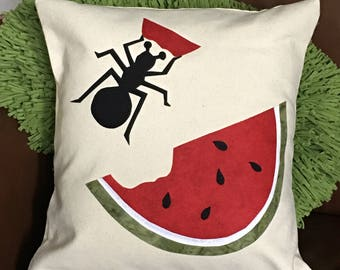 Custom pillow cover, Summer watermelon and ant,  home decor pillow cover