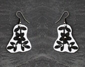 black white lace earrings drop earring lace leather earrings gift|for|women retro earrings black flower Swarovski crystal jewelry party prom