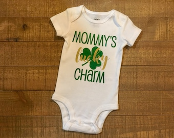 Mommy's Lucky Charm Bodysuit - St. Patrick's Day One Piece - Mommy's Lucky Charm Outfit - Saint Patrick's Day Creeper - Lucky Outfit