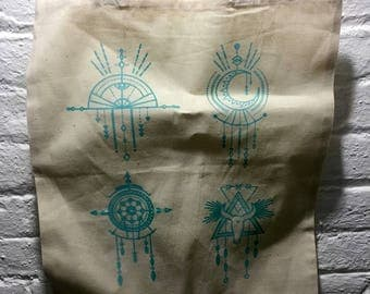 Hand Screen Printed Western Tote Bag