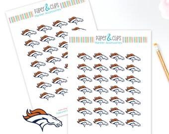 28 Denver Broncos Football Reminder or Planner Stickers