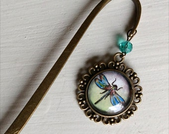 Dragonfly Bee brass book hook bookmark with dangling glass cabochon accent