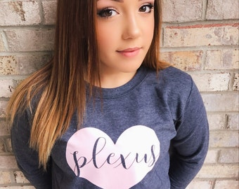 Plexus heart long-sleeved sweatshirt. Baby pink and Charcoal gray.