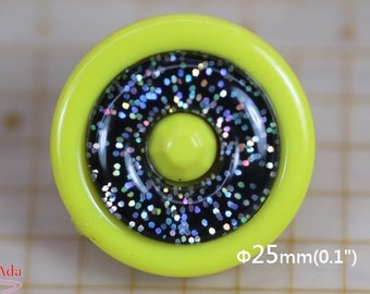 "I32186-Φ25mm(1"") 5 Glitters Acrylic Lemon Rimmed plastic buttons, Pop Style."