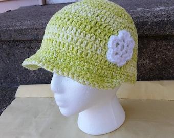 Crochet Child's Sun Hat, Child's Cotton Hat,  Cotton Hat, Child's Hat, Child's Brimmed Hat, Green Hat, Child's Summer Hat, Summer Hat