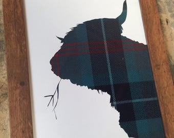 Tartan Gift - Highland Cow Silhouette - Choose from over 400+ 16oz Tartans