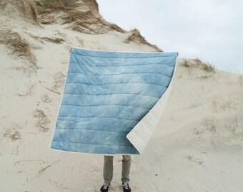 Organic big quilt - hand-quilted – 55''1x55''1- organic cotton - big blue quilt - indigo handdyed - shibori – slowmade in France