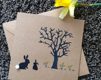 Birthday card - leaving work to have a baby -card for mummy-rabbits - mummy and baby bunny- spring time-mothers day- daffodils-spring