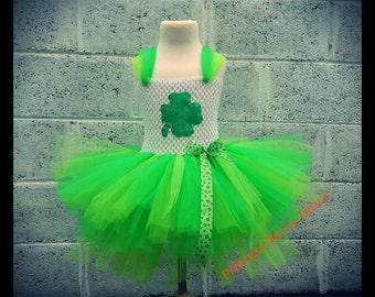 St. Patricks Day tutu, Irish tutu, Clover tutu, Shamrock outfit, Green dress,