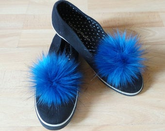 "Pair of Pom Pom Shoe Clips Royal Blue with Black tipped Faux Fur 10 to 14""cm pom pom"