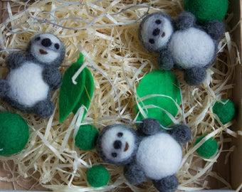 Sloth garland,sloth decoration Handmade felted sloth,nursery garland animal garland wool felt garland,wool sloth accesories baby shower gift