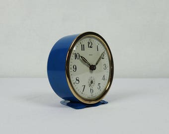 French vintage alarm clock SCOUT, blue and golden clock