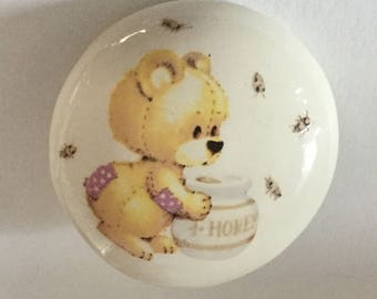 Teddy Bear Honey Pot Bees Large Ceramic Studio Button Vintage Picture Cute Pictorial