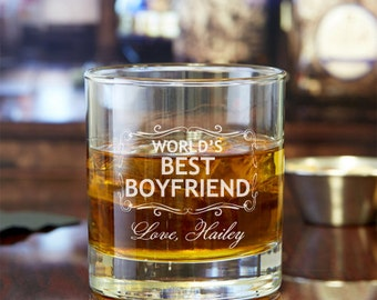 2pcs - World's Best Boyfriend Personalized Rocks Glasses  - Engraved Whiskey Glasses - FJM5714378-17