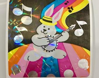 Large Vintage Rare Sandylion Prismatic Rainbow Dancing Bunny Rabbit Sticker